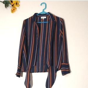 Monteau striped tie-front button down shirt
